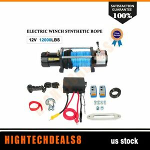 Electric Winch Towing Trailer Synthetic Rope Offroad Remote Control 12000lbs