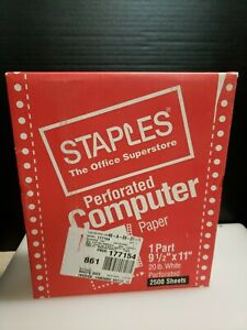 New Vintage Continuous Computer Paper 9 5 x11 Perf Blank White 20lb 2 500 Sheet