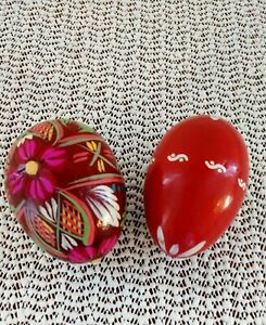 2vtg Hand Painted Easter Eggs Table Decor Wooden Lot 2 Polish Wood