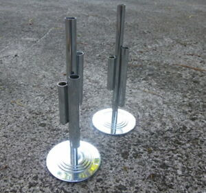 Circa 1930 Chase Chromed Art Deco Bud Vases Candle Sticks Pair By Gerth