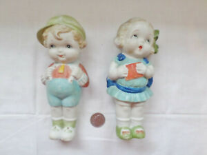Antique Huge 7 Bisque Penny Dolls Figurines Boy Girl W Bow In Hair