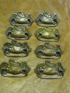 Set Of 8 Ornate Antique Pressed Brass Victorian Drawer Pulls