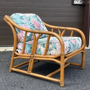 Vintage Ficks Reed Leather Wrapped Bamboo Rattan Lounge Chair