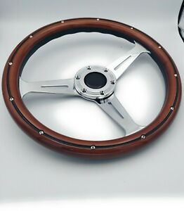 14 Slotted 3 Spoke Steering Wheel Dark Wood Riveted Grip 6 Hole Chevy Ford Gmc