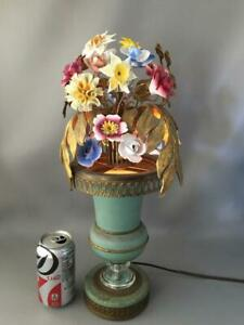 Antique French Shabby Vtg Chic Metal Tole Urn Crystal Porcelain Flowers Lamp
