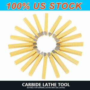 3 8 Carbide Tip Tipped Cutter Tool Bit Cutting Set For Metal Lathe Tooling 20pc