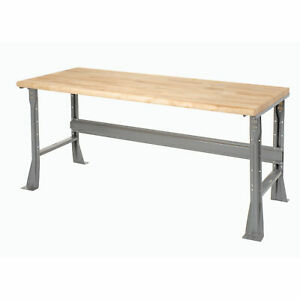 Fixed Height Workbench Flared Leg 72 w X 30 d X 34 h 1 3 4 Maple Top Safety