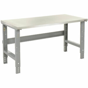 Adjustable Height Workbench C channel Leg 72 w X 30 d 1 1 2 Stainless Steel
