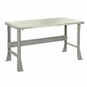Fixed Height Workbench Flared Leg 48 w X 30 d X 34 h 1 1 2 Stainless Steel