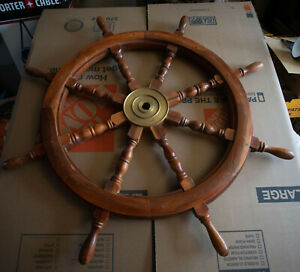 36 Ship S Wheel Hse Brass Wood Nautical Pirate Decor Steering Helm Sail Boat