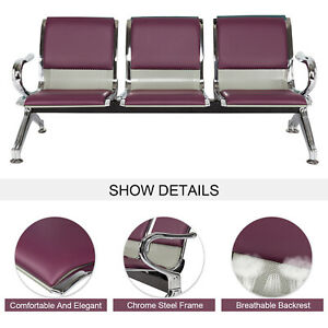 3 seat Office Reception Chair Waiting Room Bench Visitor Guest Airport Purple