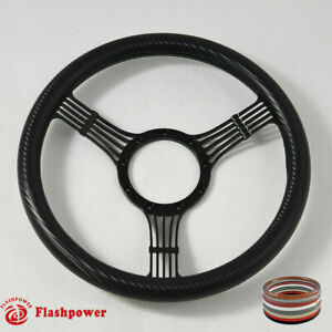 14 Black Billet Carbon Fiber Steering Wheel Ford Gm Corvair Impala Chevy Ii