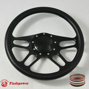 14 Black Billet Carbon Fiber Steering Wheel Gmc Caprice Corvair Impala W Horn