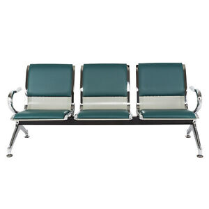 3 seat Office Reception Chair Waiting Room Bench Visitor Guest Airport Green