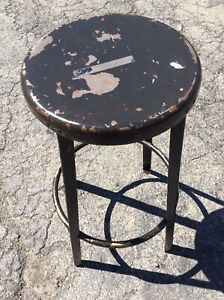 Vintage Metal 28 Tall Stool W Foot Rail 13 Round Seat Good