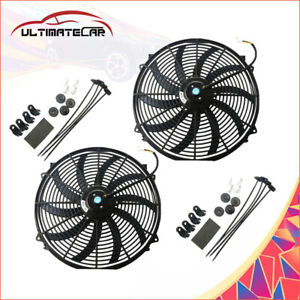 Set 2 16 Universal Slim Fan Push Pull Electric Radiator Cooling 12v Mount Kit