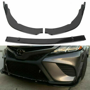 Front Bumper Lip Body Kit Splitter For Toyota Camry 2018 2020 Se Xse Gloss Black