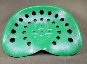 Vintage Metal Farm Tractor Seat Pan John Deere Green Unmarked 3 Bolt Decoration