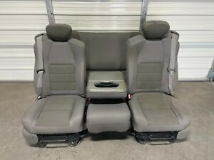 1999 2010 Ford F250 F350 F450 Super Duty Front Rear Seats Gray Extended Cab
