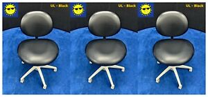 3 Pelton Crane Dental Doctor Stools Black Ultraleather Upholstery