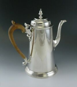 Antique 1736 English Sterling Silver Wood Handle Tea Coffee Pot 18th Century