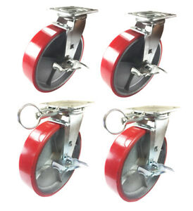 4 Casters Set 8 X 2 Swivel Lock Polyurethane On Cast Iron Wheels No Mark Red