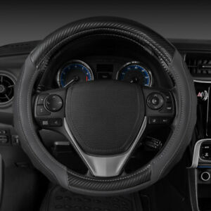 Motor Trend Ultra Sport Leather Steering Wheel Cover With Carbon Fiber Detail