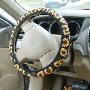 Sunflower Stretchy Auto Steering Wheel Cover 37 38cm 15 For Women Girls Ladies