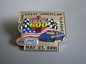 2001 COCA-COLA 600 LOWES MOTOR SPEEDWAY CHARLOTTE NASCAR RACING EVENT HAT PIN