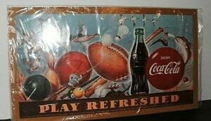 Coca-Cola PLAY REFRESHED Metal Sign 9 In x 15 1/2 In Sports Theme