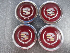 Set Of 4 Cadillac Chrome Wire Wheel Cover Emblems 255063 254967 116mm 4 50