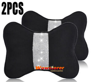 Car Seat Head Neck Rest Pillow Cushion Headrest Pad Cotton Bling Crystal Diamond