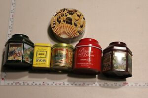 Lot of 6 Vintage Tea Tins  Great Pieces  All have lids and are in great conditio