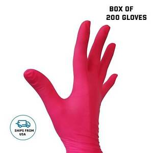 Red Gloves Nitrile Coral Gloves Powder Free Disposable Box Of 200 Gloves
