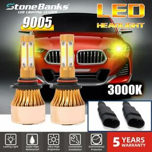 4 Side 3000k 9005 Hb3 H10 Led Headlight Bulb High Power Yellow Foglight 72w 8000