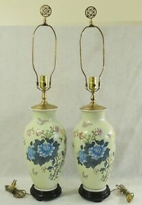 Pair Antique Vtg Chinese Asian 33 Porcelain Flowers Birds Vase Table Lamps