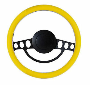 Yellow And Black Billet Hot Rod Steering Wheel 9 Hole For Gm Columns Ididit