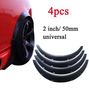 2 50mm Universal Flexible Car Fender Flares Over Wide Body Wheel Arches 4pcs