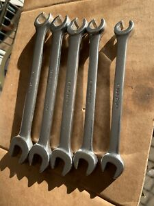 Snap On Vintage 5 Piece Sae Open End 6 Point Flare Nut Wrench Set 3 8 5 8 Rxs