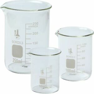 3 Size Glass Graduated Low Form Clear Glass Beaker Set 50ml 100ml 250ml New