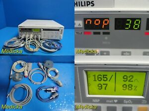 Philips Series 50xm Fetal Monitor W Leads ultrasound Toco Transducers 21656