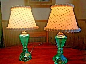 Vintage Antique Pair Jade Emerald Green Depression Glass Vanity Lamps