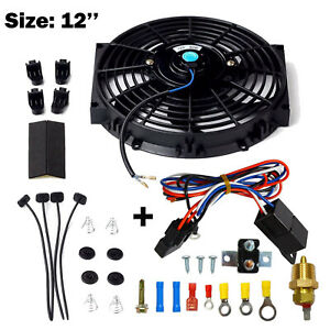 Black 12 electric Cooling Fan 12 Volt Push in Radiator Fin Probe Thermostat Kit