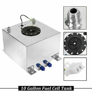 6an 10 Gallon Fuel Cell Tank W Sender V8 Polished Aluminum Silver Universal