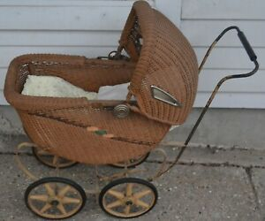 Vintage Baby Doll Stroller Pram Carriage Buggy Wicker