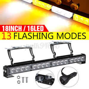 12v 18 16 Led Emergency Warning Flashing Strobe Light Bar Traffic Amber White