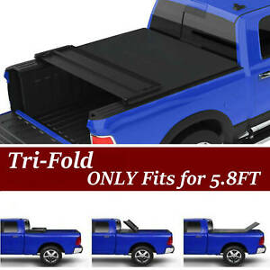 Tri fold Tonneau Cover For 09 17 Dodge Ram 1500 5 8ft 69 6in Bed W Led Light Us