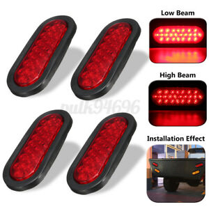 4pcs 6 Red 24 Led Oval Truck Trailer Stop Turn Tail Brake Lights Rubber Mount