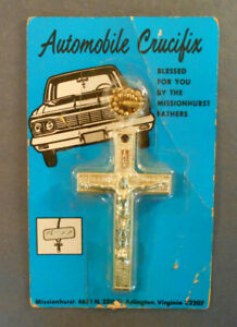 Blessed By Missionhurst Fathers Vtg Auto Truck Crucifix Visor Mirror Accessory