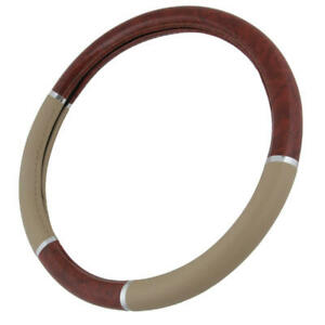 Wood Grain Two Tone Leather Steering Wheel Cover Universal Size 14 5 15 5